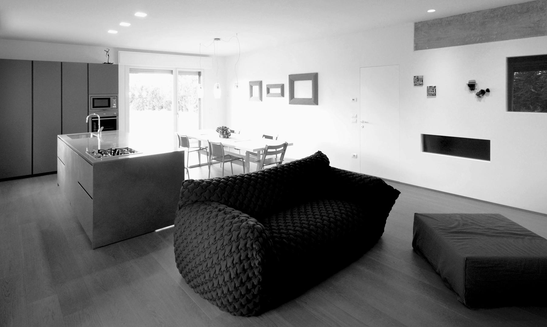 casa SP. la zona giorno, la cucina e la zona living