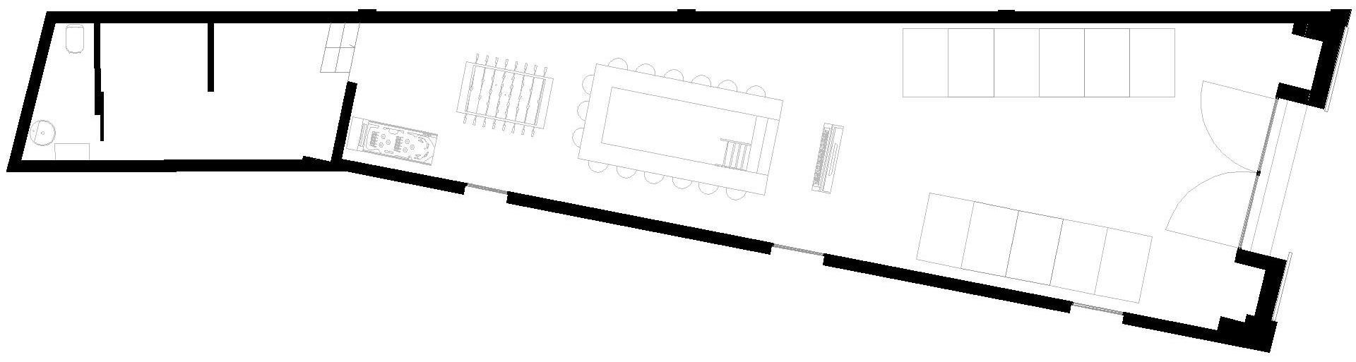 spazio_P (patatas Nana). pianta piano terra con lo sviluppo dell'intervento e concept del riuso.
