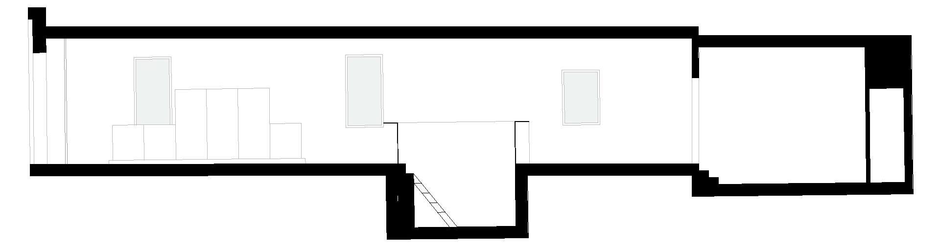 spazio_P (patatas Nana). sezione longitudinale con lo sviluppo dell'intervento e concept del riuso.