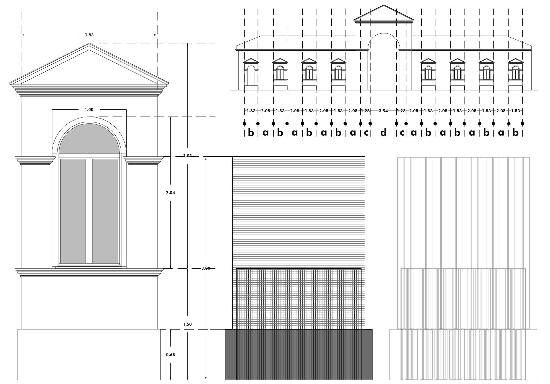cimitero monumentale. studio della finiestra, dei suoi componenti e delle sue proporzioni tra le parti e con tutta la facciata. prospetto del modulo A della nuova recinzione.
