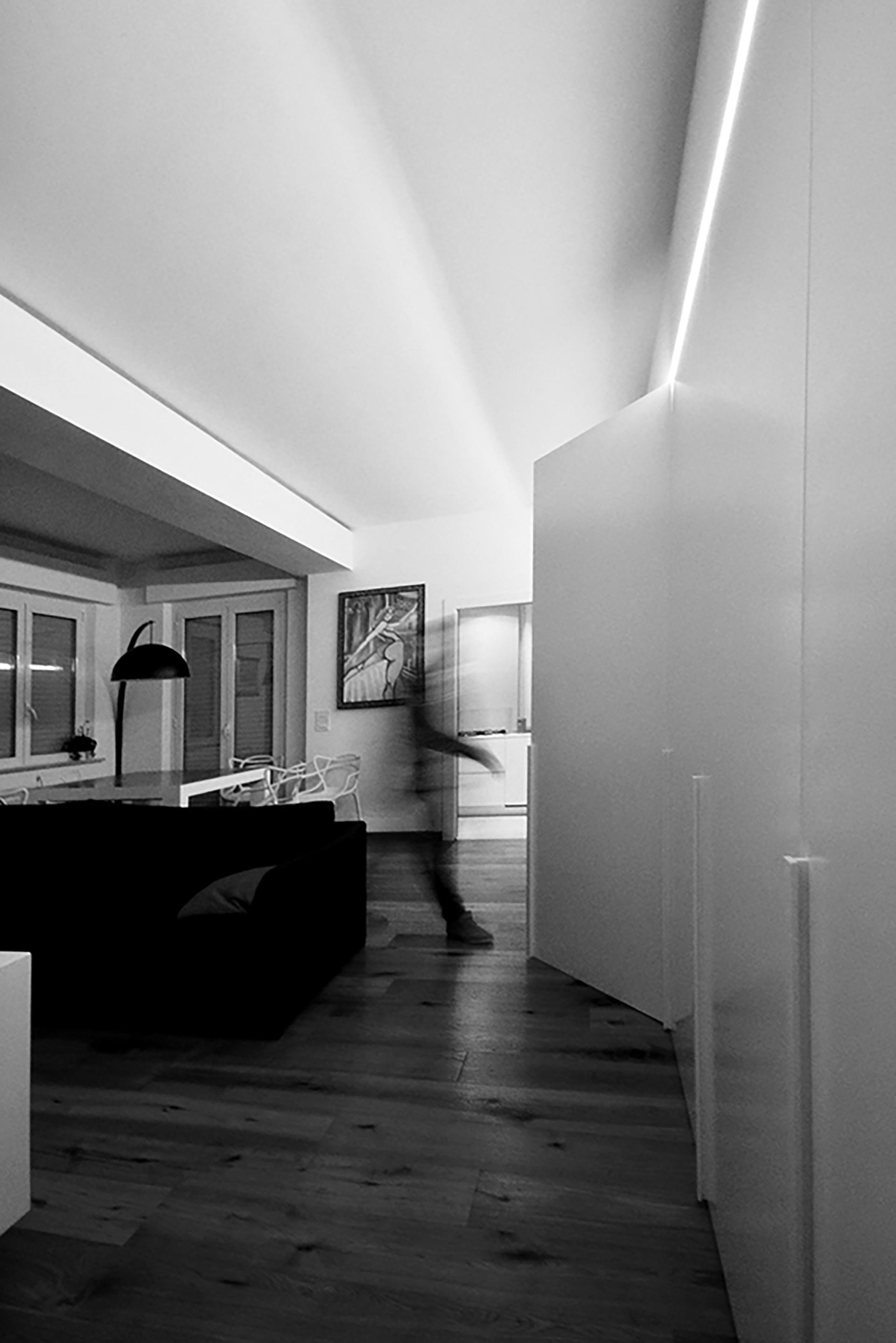 casa LT EDC. la presenza di un'armadiatura che riveste tutta la parete che percorre la zona giorno, divenendo mobile contenitivo, libreria e accesso al disimpegno della zona notte.