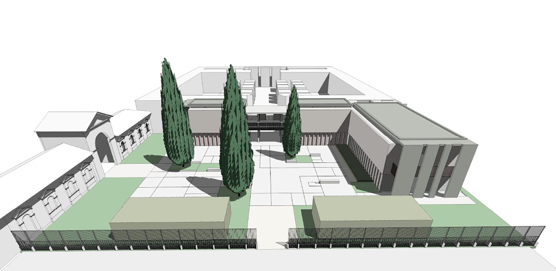 cimitero monumentale. vista prospettica degli assi distributivi - asse ingresso est-ovest che collega il cimitero monumentale con il nuovo ampliamento.