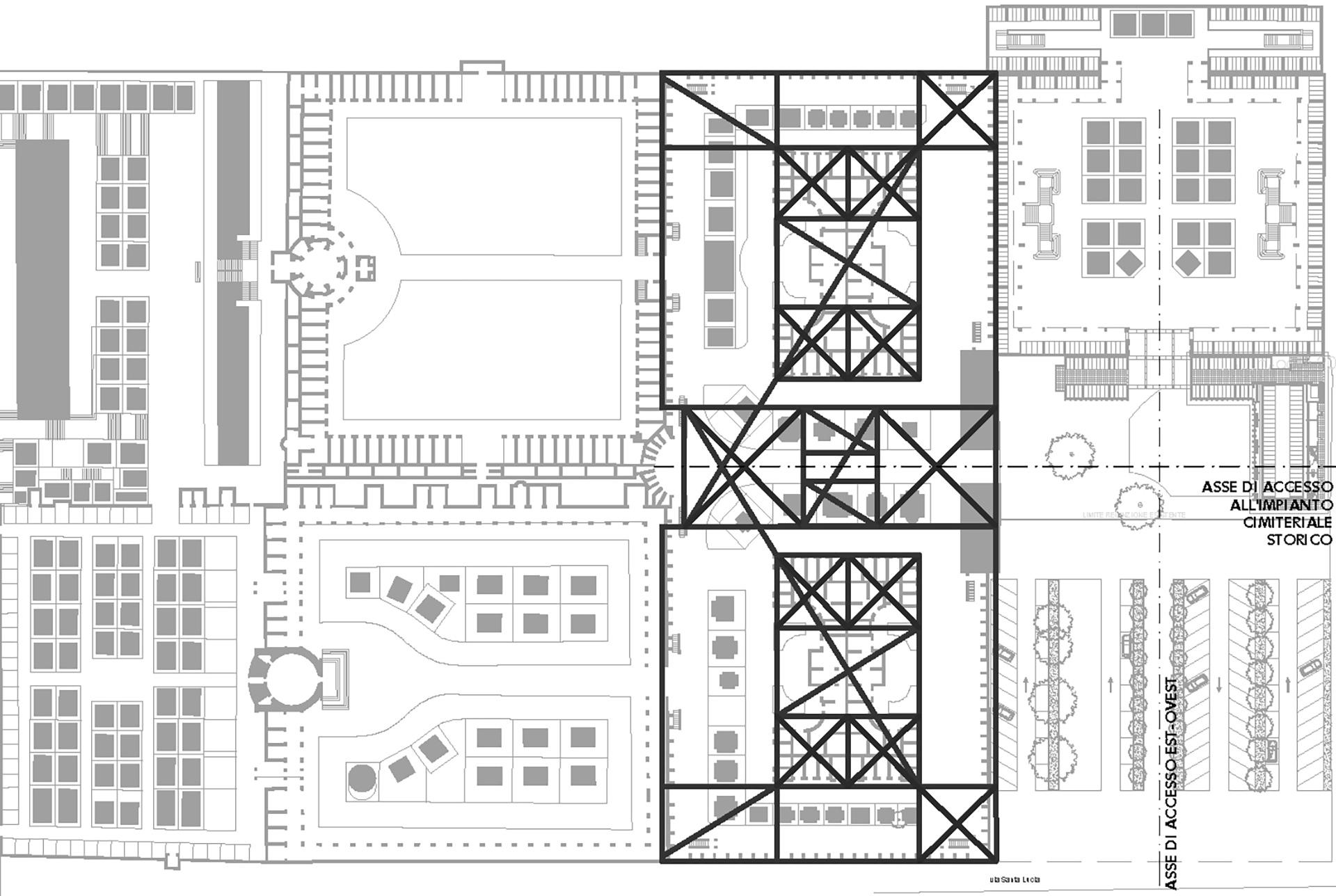 cimitero monumentale. individuazione delle geometrie dell'impianto cimiteriale storico, da cui è scaturito il progetto sviluppato.