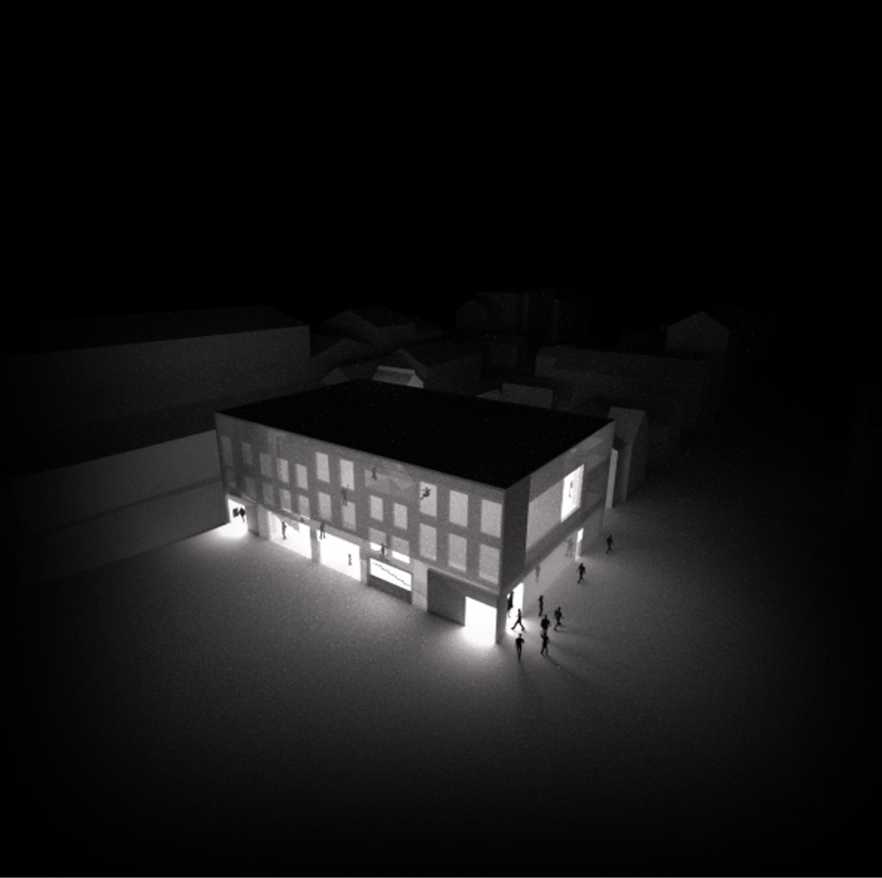 yverdon les bains. concept delle bucature che richiamano il tessuto urbano della via antistante il castello.