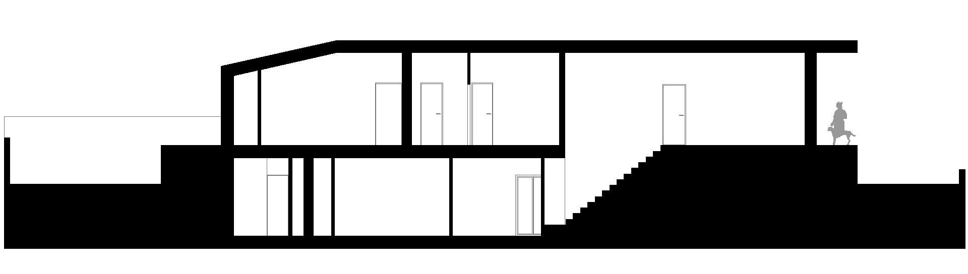 casa studio. sezione longitudinale.
