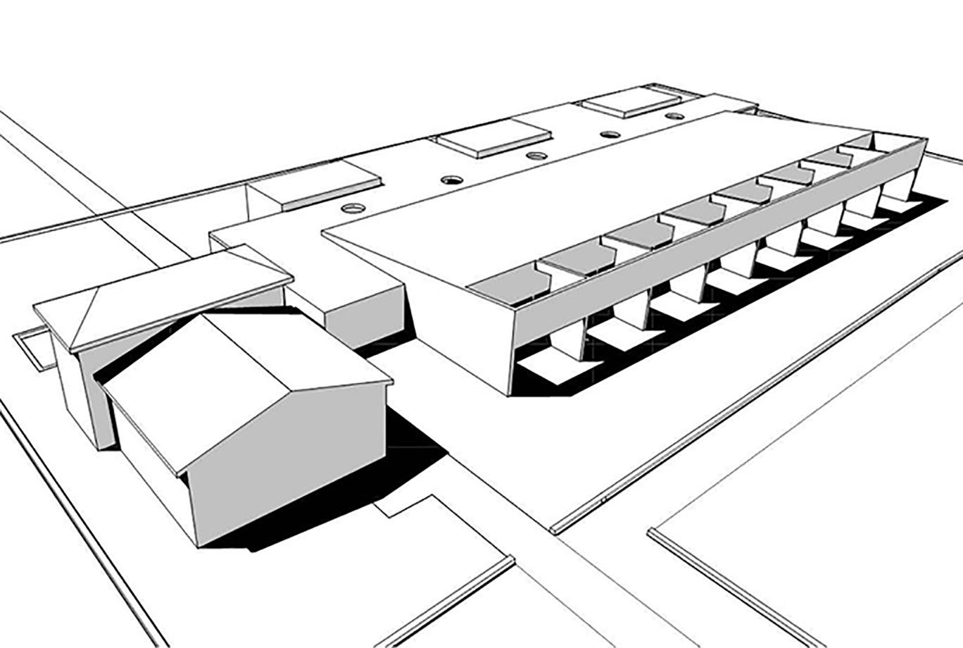 scuola materna montessori. vista prospettica del modello tridimemsionale