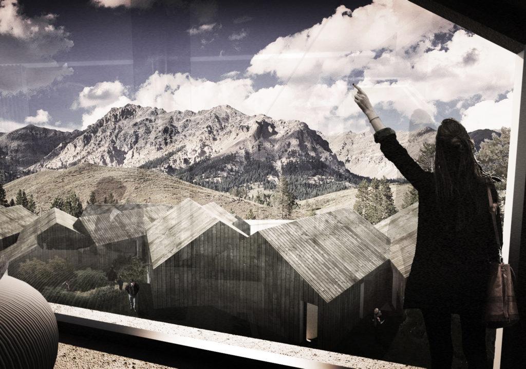 abitare la montagna. vista dall'interno dei alloggio tipo sul panorama circostante.