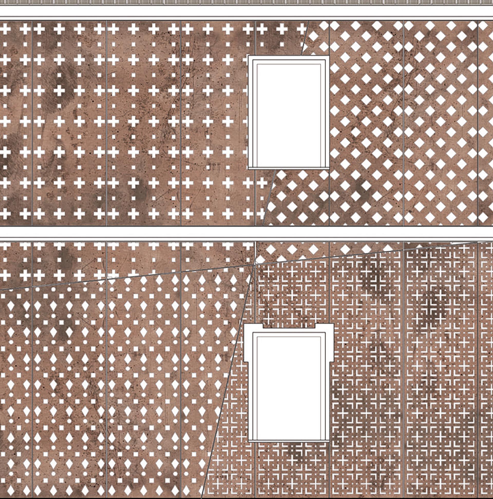 riqualificazione. nuova facciata rivestita in pelle corten dell'edificio ex cral