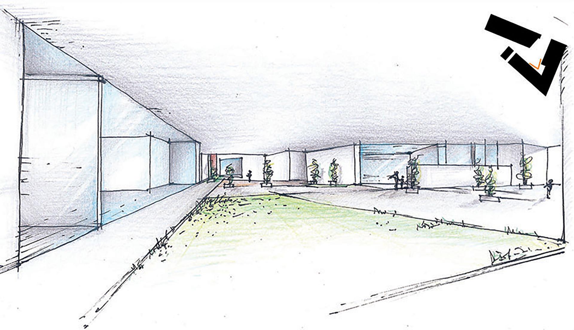 scuole professionali. schizzo del cortile, il cuore dell'edificio scolastico che ha origine dalla compenetrazione volumetrica e dal processo di sottrazione cui vengono sottoposti i volumi.