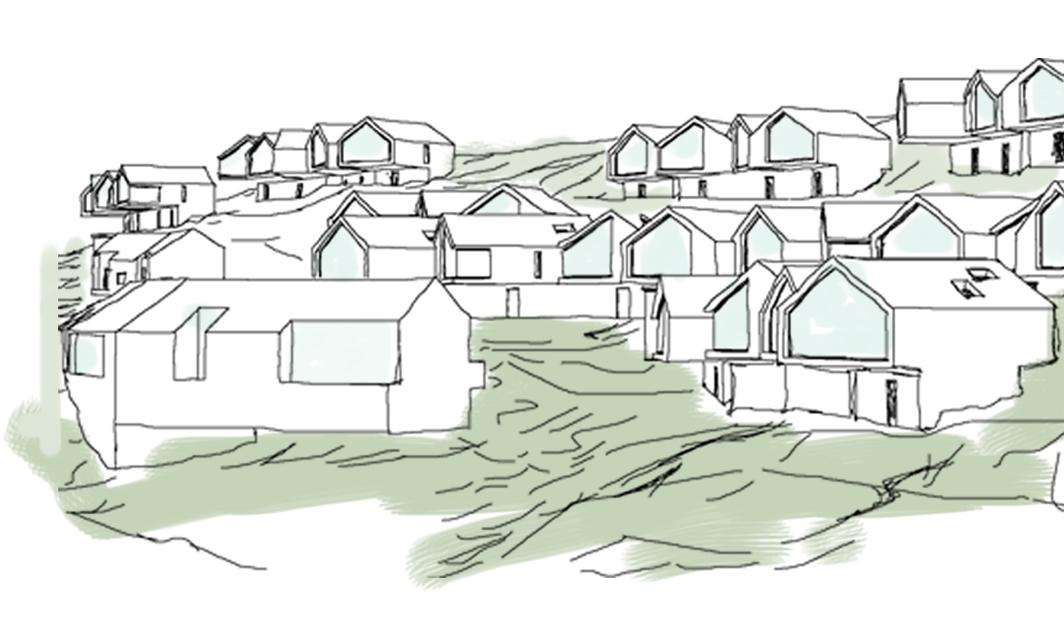 abitare la montagna. concept e schizzo dell'agglomerato urbano. In primo piano gli alloggi condominiali, mentre sullo sfondo, dominano il panorama le villette monofamiliari.