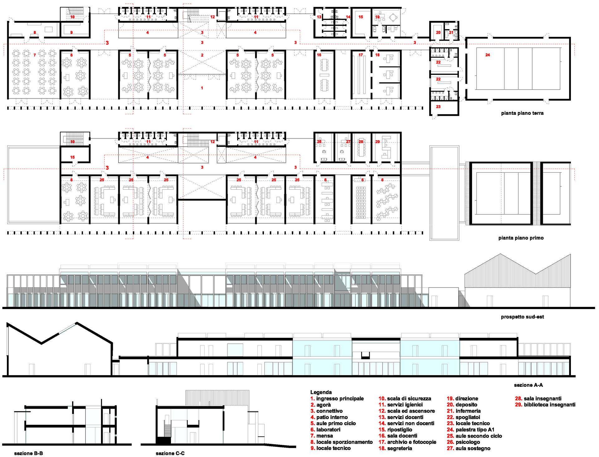 scuola primaria di viale tornio. disegni tecnici, piante prospetti e sezioni.