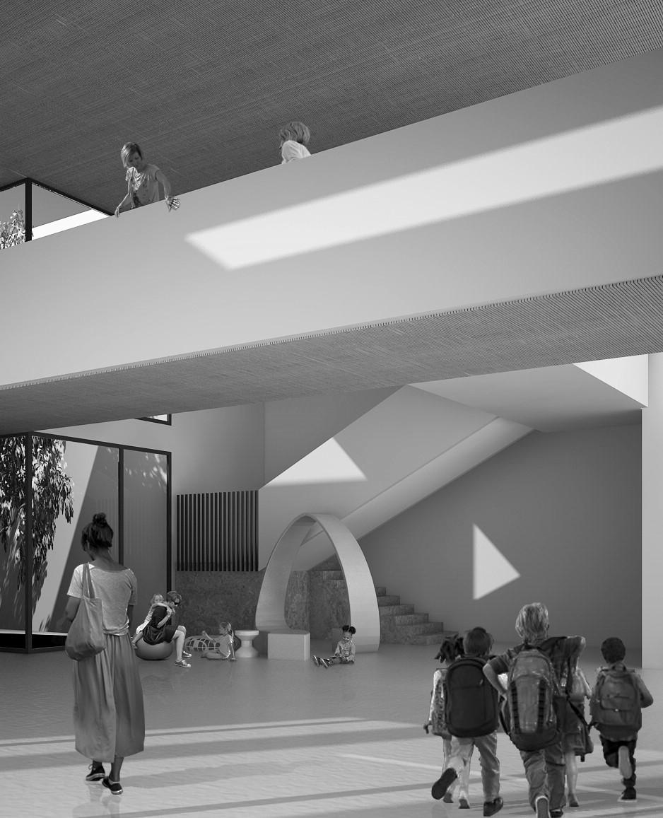 scuola primaria di viale tornio. atrio accesso, agorà e spazio polifunzionale con doppia altezza e giardino di inverno.
