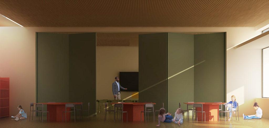 scuola primaria di viale tornio. aula tipo. lo spazio è flessibile e sempre variabile.