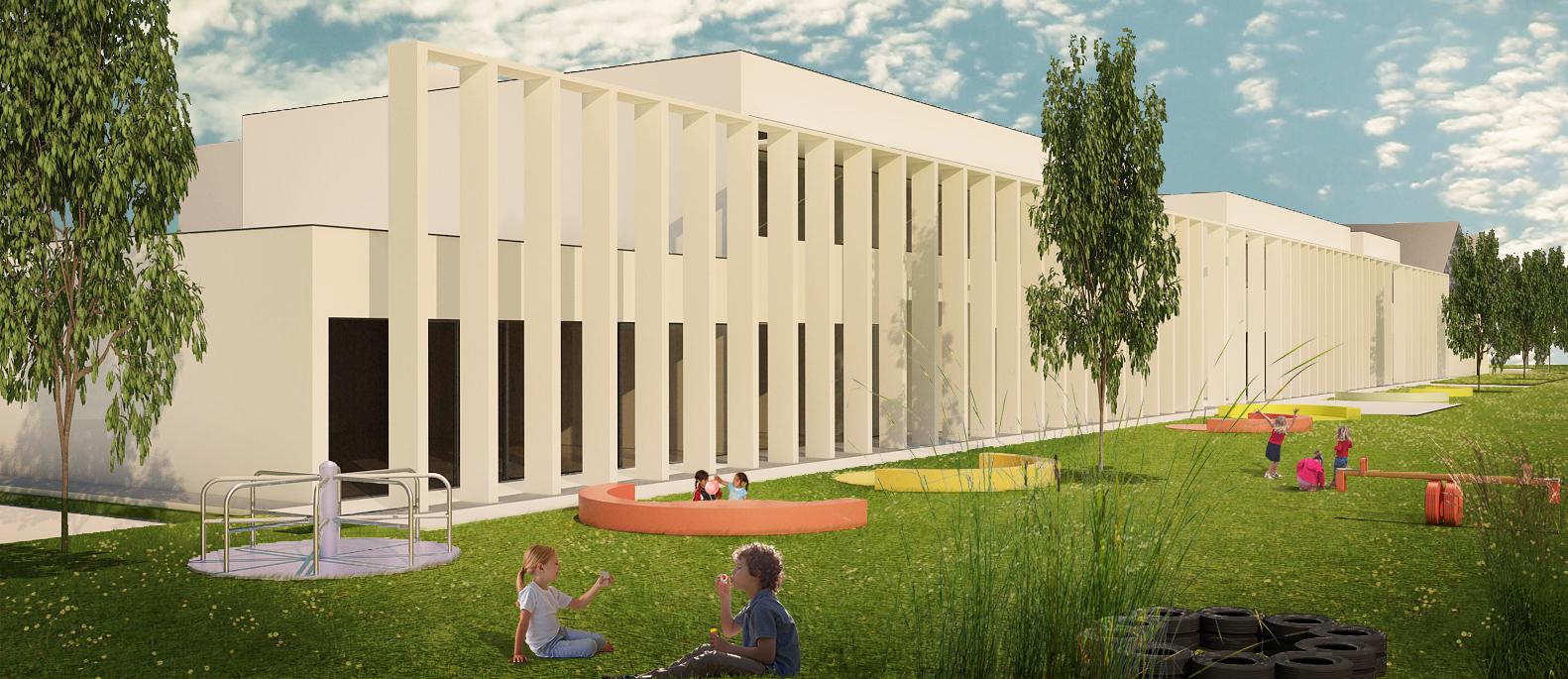 scuola primaria di viale tornio. vista del prospetto priincipoale con gli spazi gioco, il grande telaio ligneo che ha lo scopo di generare ombreggiamenti alle aule.