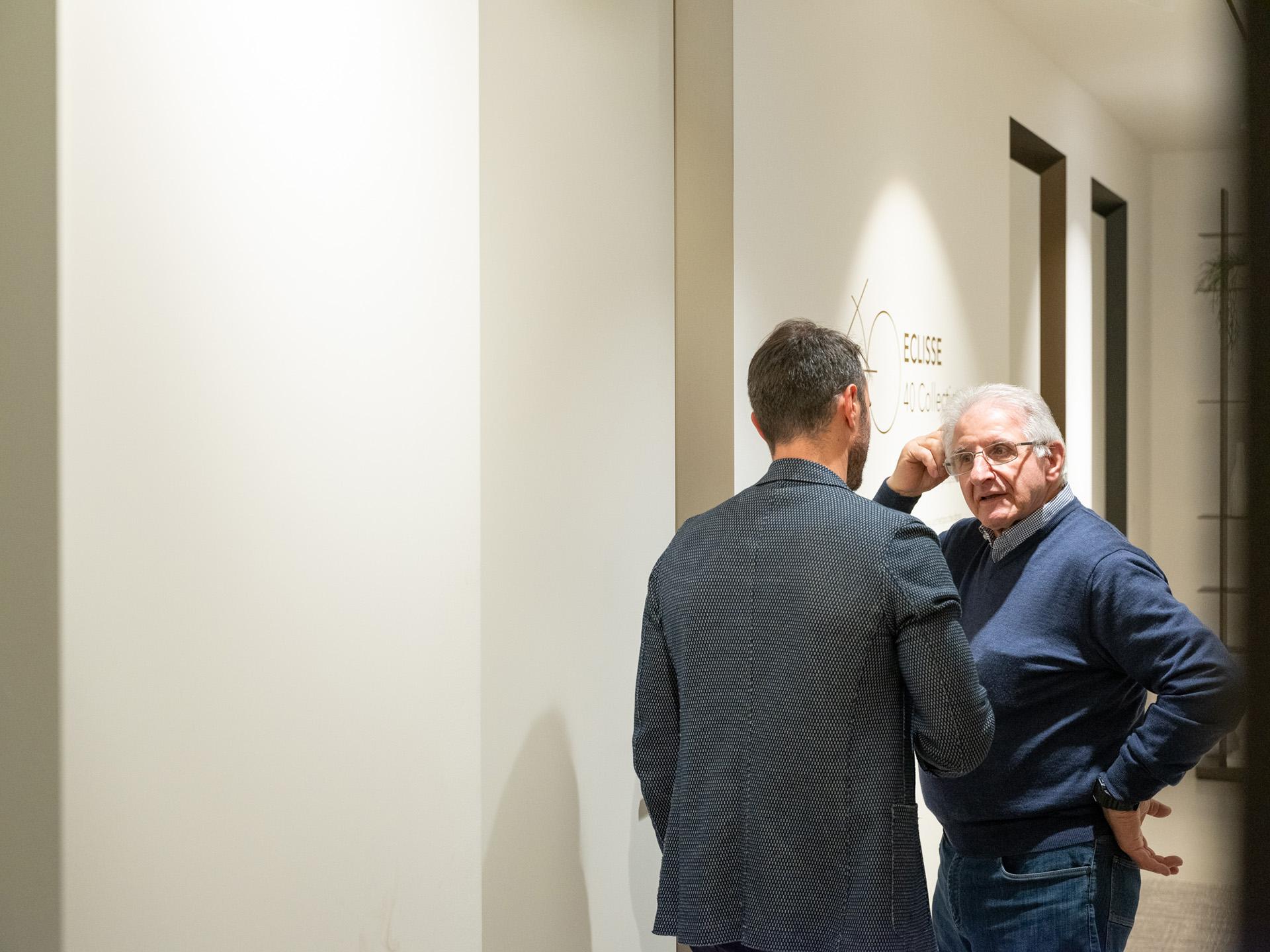Press Day - via Molino delle Armi 2A Milano - lancio eclisse 40 collection. Valentini a colloquio con De Faveri