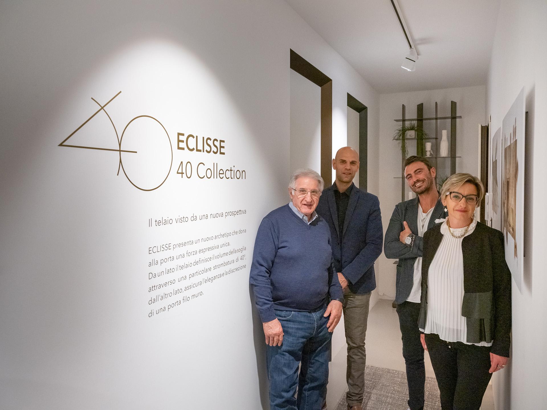 Press Day - via Molino delle Armi 2A Milano - lancio eclisse 40 collection. I designer Valentini Ponzelli, il fondatore di Eclisse Luigi De Faveri e la CEO di Eclisse Daniela De Faveri
